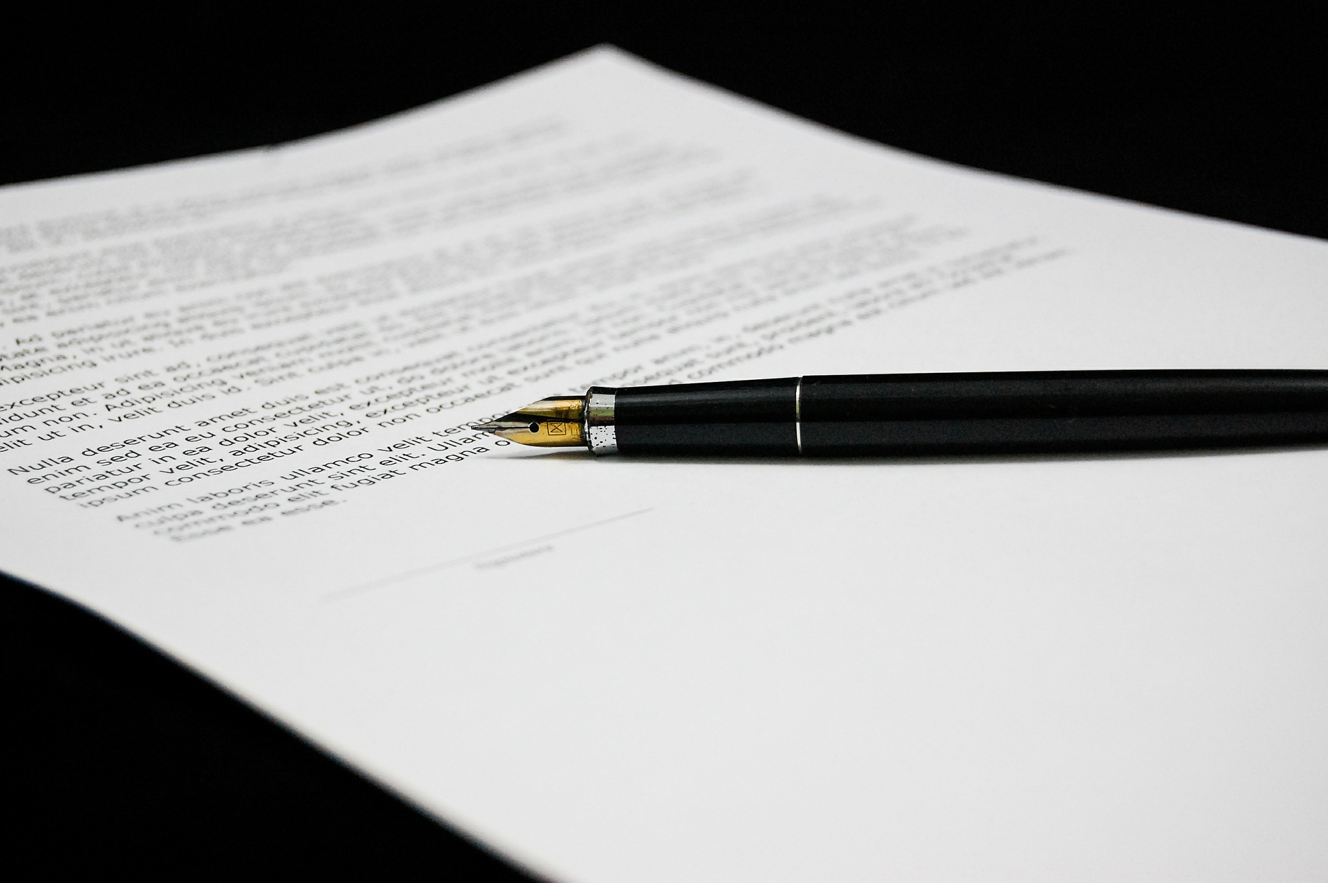 fountain pen on paper contract